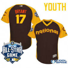 YOUTH 2016 All-Star National Chicago Cubs Kris Bryant #17 Brown Third Baseman Cool Base Jersey