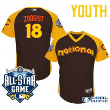 YOUTH 2016 All-Star National Chicago Cubs Ben Zobrist #18 Brown Second Baseman Cool Base Jersey