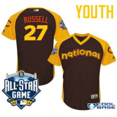 YOUTH 2016 All-Star National Chicago Cubs Addison Russell #27 Brown Infielder Cool Base Jersey
