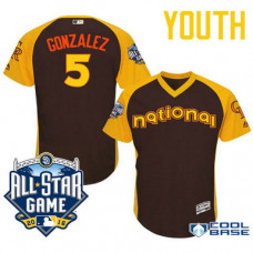 YOUTH 2016 All-Star National Colorado Rockies #5 Carlos Gonzalez Brown Cool Base Jersey