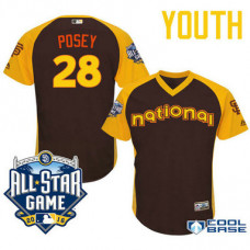 YOUTH 2016 All-Star National San Francisco Giants #28 Buster Posey Brown Cool Base Jersey