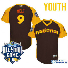 YOUTH 2016 All-Star National San Francisco Giants #9 Brandon Belt Brown Cool Base Jersey