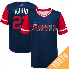 YOUTH Los Angeles Angels Mike Trout #27 Kiiiiid Navy Nickname 2017 Little League Players Weekend Jersey
