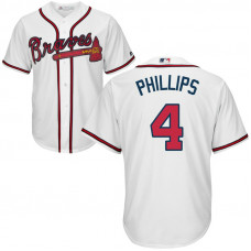 YOUTH Atlanta Braves #4 Brandon Phillips Home White Cool Base Jersey