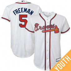 YOUTH Freddie Freeman #5 Atlanta Braves Replica White Cool Base Jersey