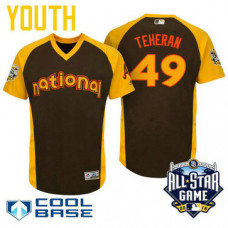 YOUTH 2016 All-Star National Atlanta Braves Julio Teheran #49 Brown Cool Base Jersey