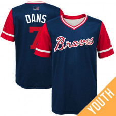 YOUTH Atlanta Braves Dansby Swanson #7 Dans Navy Nickname 2017 Little League Players Weekend Jersey