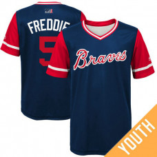 YOUTH Atlanta Braves Freddie Freeman #5 Freddie Navy Nickname 2017 Little League Players Weekend Jersey
