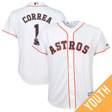 YOUTH Houston Astros Carlos Correa #1 White 2017 World Series Champions Team Logo Patch Cool Base Jersey