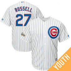 YOUTH Addison Russell #27 Chicago Cubs 2017 Postseason White Cool Base Jersey