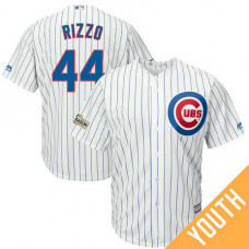 YOUTH Anthony Rizzo #44 Chicago Cubs 2017 Postseason White Cool Base Jersey