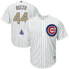 YOUTH Chicago Cubs #44 Anthony Rizzo Replica 2017 Gold Program Fashion White Cool Base Jersey