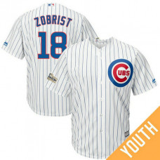 YOUTH Ben Zobrist #18 Chicago Cubs 2017 Postseason White Cool Base Jersey