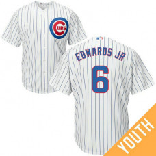 YOUTH Chicago Cubs #6 Carl Edwards Jr Home White Cool Base Jersey