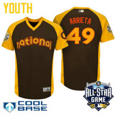 YOUTH 2016 All-Star National Chicago Cubs Jake Arrieta #49 Brown Cool Base Jersey