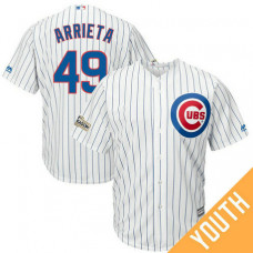 YOUTH Jake Arrieta #49 Chicago Cubs 2017 Postseason White Cool Base Jersey
