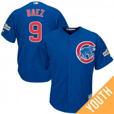 YOUTH Javier Baez #9 Chicago Cubs 2017 Postseason Royal Cool Base Jersey
