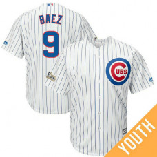YOUTH Javier Baez #9 Chicago Cubs 2017 Postseason White Cool Base Jersey