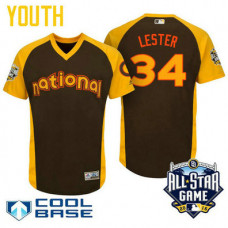 YOUTH 2016 All-Star National Chicago Cubs Jon Lester #34 Brown Cool Base Jersey