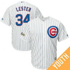 YOUTH Jon Lester #34 Chicago Cubs 2017 Postseason White Cool Base Jersey
