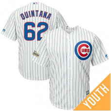 YOUTH Jose Quintana #62 Chicago Cubs 2017 Postseason White Cool Base Jersey