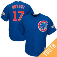 YOUTH Kris Bryant #17 Chicago Cubs 2017 Postseason Royal Cool Base Jersey