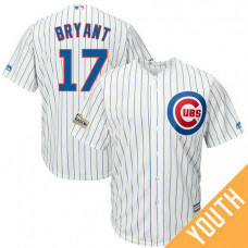 YOUTH Kris Bryant #17 Chicago Cubs 2017 Postseason White Cool Base Jersey
