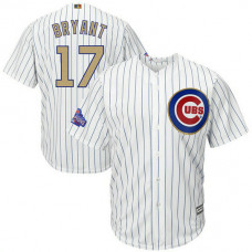 YOUTH Chicago Cubs #17 Kris Bryant Replica 2017 Gold Program Fashion White Cool Base Jersey