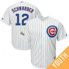 YOUTH Kyle Schwarber #12 Chicago Cubs 2017 Postseason White Cool Base Jersey