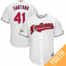 YOUTH Carlos Santana #41 Cleveland Indians 2017 Postseason White Cool Base Jersey