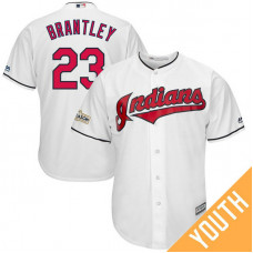 YOUTH Michael Brantley #23 Cleveland Indians 2017 Postseason White Cool Base Jersey
