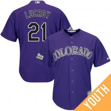 YOUTH Jonathan Lucroy #21 Colorado Rockies 2017 Postseason Purple Cool Base Jersey