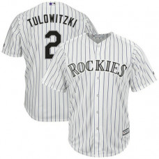 YOUTH Troy Tulowitzki #2 Colorado Rockies Home White Cool Base Jersey