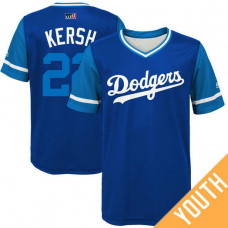 YOUTH Los Angeles Dodgers Clayton Kershaw #22 Kersh Royal Nickname 2017 Little League Players Weekend Jersey