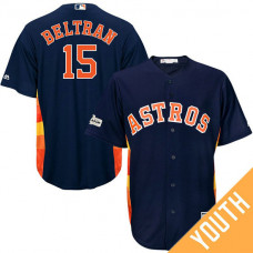 YOUTH Carlos Beltran #15 Houston Astros 2017 Postseason Navy Cool Base Jersey