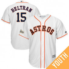 YOUTH Carlos Beltran #15 Houston Astros 2017 Postseason White Cool Base Jersey