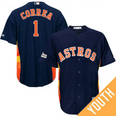 YOUTH Carlos Correa #1 Houston Astros 2017 Postseason Navy Cool Base Jersey