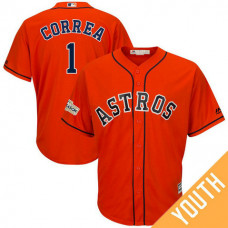 YOUTH Carlos Correa #1 Houston Astros 2017 Postseason Orange Cool Base Jersey
