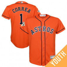 YOUTH Carlos Correa #1 Houston Astros 2017 World Series Bound Orange Cool Base Jersey