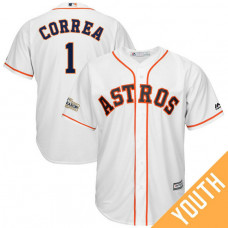 YOUTH Carlos Correa #1 Houston Astros 2017 Postseason White Cool Base Jersey