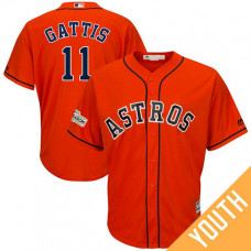 YOUTH Evan Gattis #11 Houston Astros 2017 Postseason Orange Cool Base Jersey