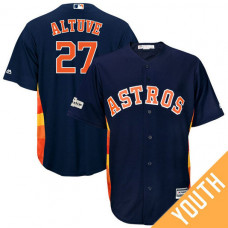 YOUTH Jose Altuve #27 Houston Astros 2017 Postseason Navy Cool Base Jersey