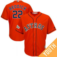 YOUTH Josh Reddick #22 Houston Astros 2017 Postseason Orange Cool Base Jersey