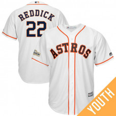 YOUTH Josh Reddick #22 Houston Astros 2017 Postseason White Cool Base Jersey