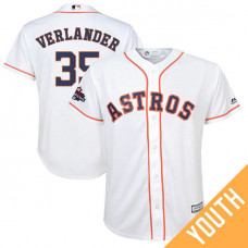 YOUTH Houston Astros Justin Verlander #35 White 2017 World Series Champions Team Logo Patch Cool Base Jersey