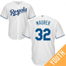 YOUTH Kansas City Royals #32 Brandon Maurer Home White Cool Base Jersey