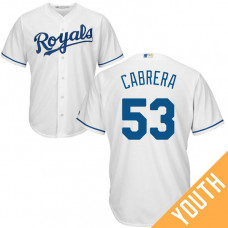 YOUTH Melky Cabrera #53 Kansas City Royals Home White Cool Base Jersey