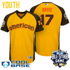 YOUTH 2016 All-Star American Kansas City Royals Wade Davis #17 Yellow Cool Base Jersey