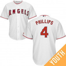 YOUTH Los Angeles Angels #4 Brandon Phillips Home White Cool Base Jersey