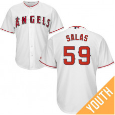 YOUTH Los Angeles Angels #59 Fernando Salas Home White Cool Base Jersey